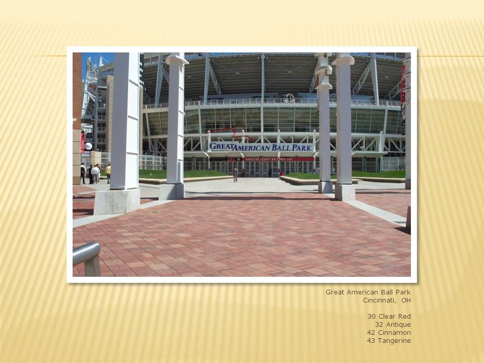 Great American Ball Park, Cincinnati, OH 4x8x2-3/4 and 8x8x2-3/4 shade 32, 33, 41 and 42