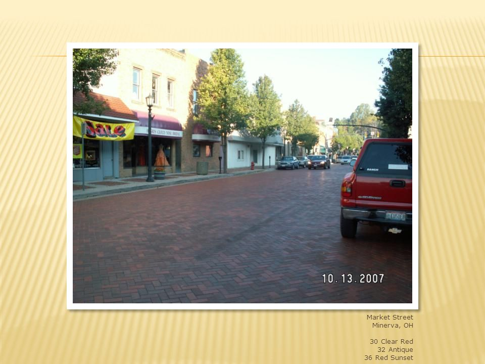 Market Street, Minerva, OH – state route 183 – lots of truck traffic 4x8x2-3/4 blend of shades 30, 32 and 36