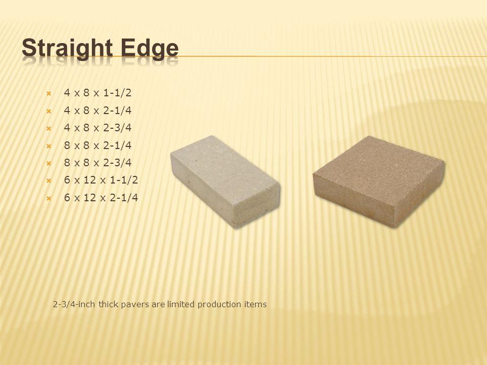 Straight Edge 4 x 8 x 1-1/2 4 x 8 x 2-1/4 4 x 8 x 2-3/4 8 x 8 x 2-1/4
