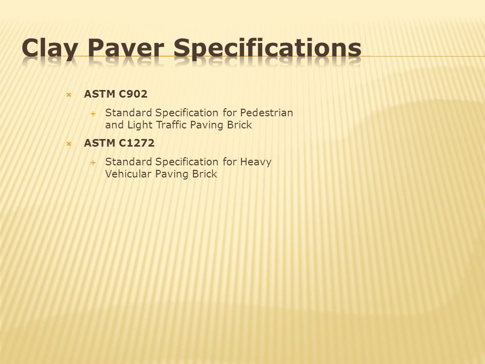 Clay Paver Specifications