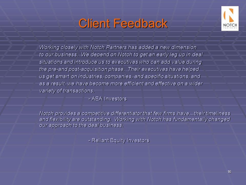Client Feedback - AEA Investors - Reliant Equity Investors