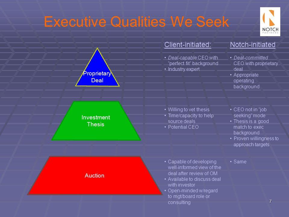 Executive Qualities We Seek