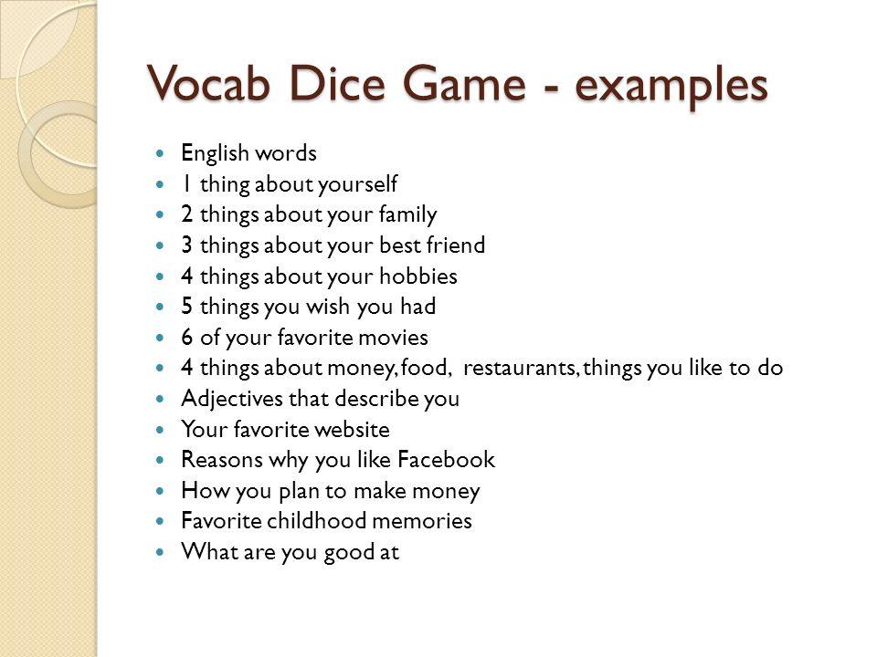 Vocab Dice Game - examples