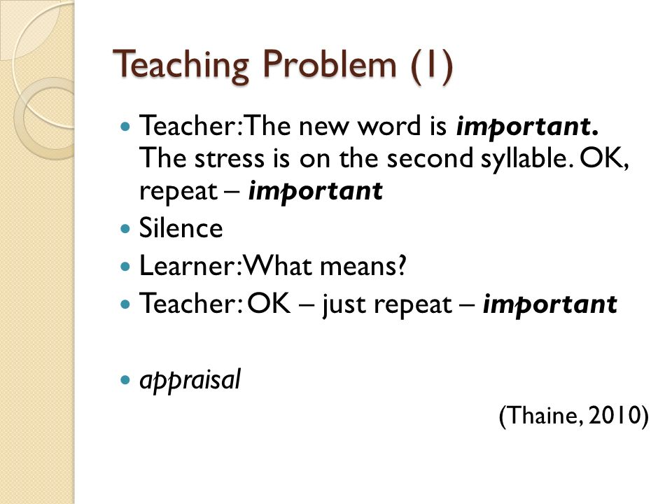 Teaching Problem (1) Teacher: The new word is important. The stress is on the second syllable. OK, repeat – important.