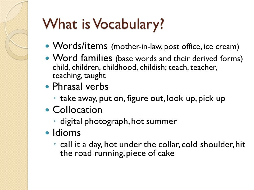 What is Vocabulary Words/items (mother-in-law, post office, ice cream)