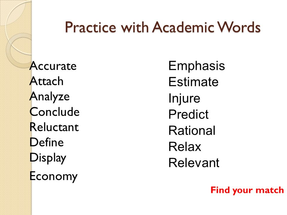 Practice with Academic Words