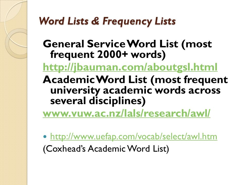 Word Lists & Frequency Lists
