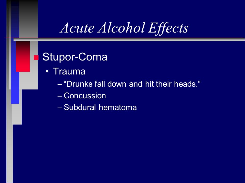 Acute Alcohol Effects Stupor-Coma Trauma