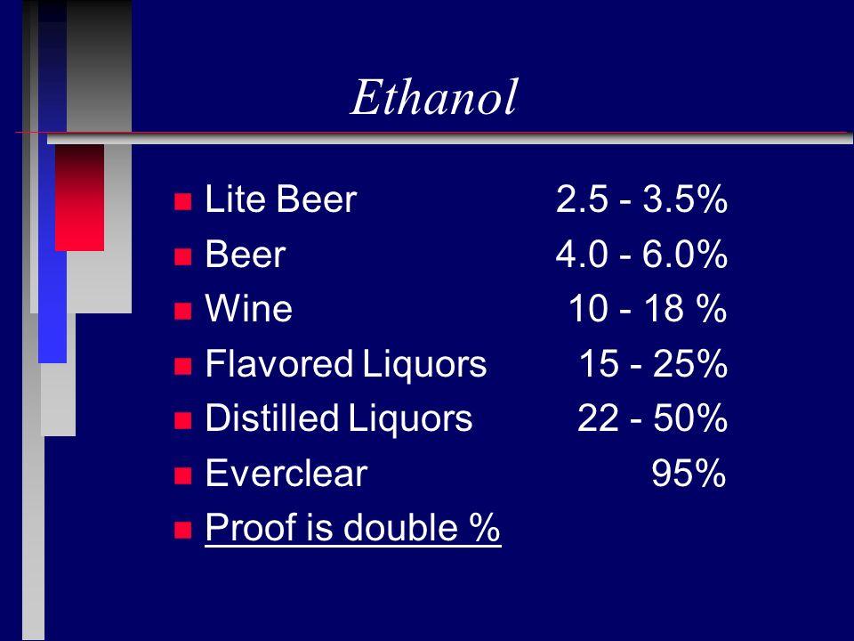 Ethanol Lite Beer 2.5 - 3.5% Beer 4.0 - 6.0% Wine 10 - 18 %