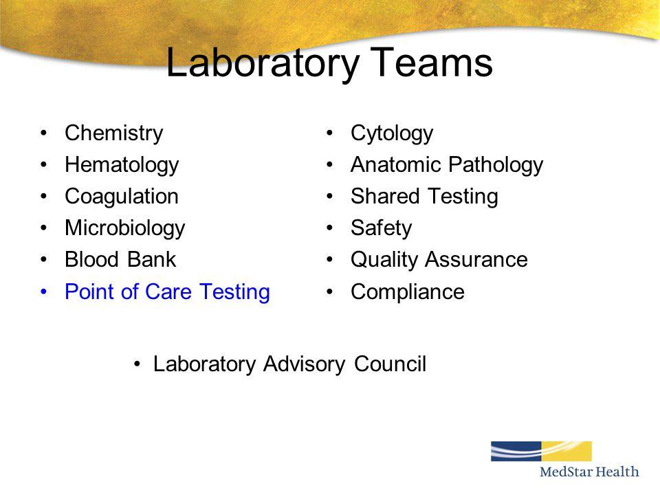 Laboratory Teams Chemistry Hematology Coagulation Microbiology
