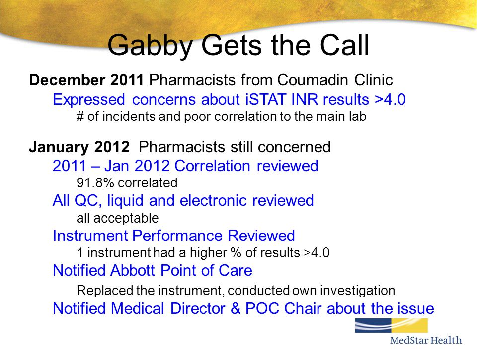 Gabby Gets the Call December 2011 Pharmacists from Coumadin Clinic