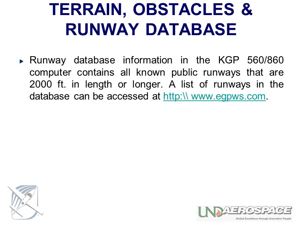 TERRAIN, OBSTACLES & RUNWAY DATABASE