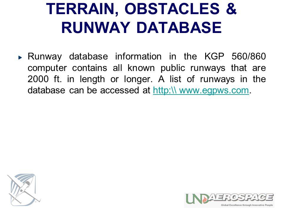 TERRAIN, OBSTACLES & RUNWAY DATABASE