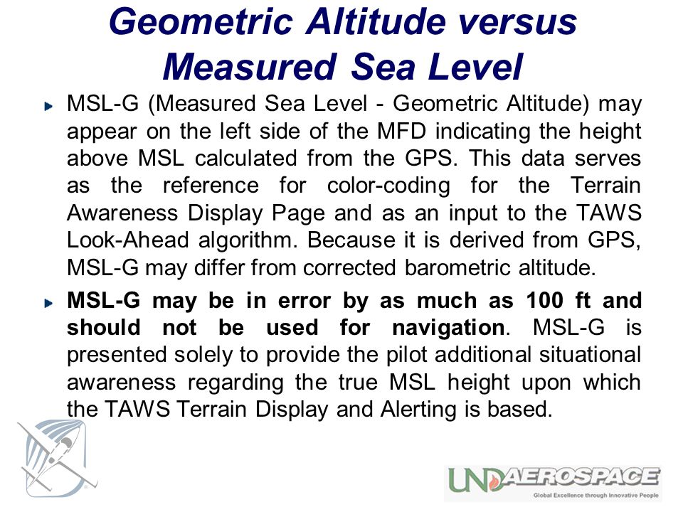 Geometric Altitude versus Measured Sea Level