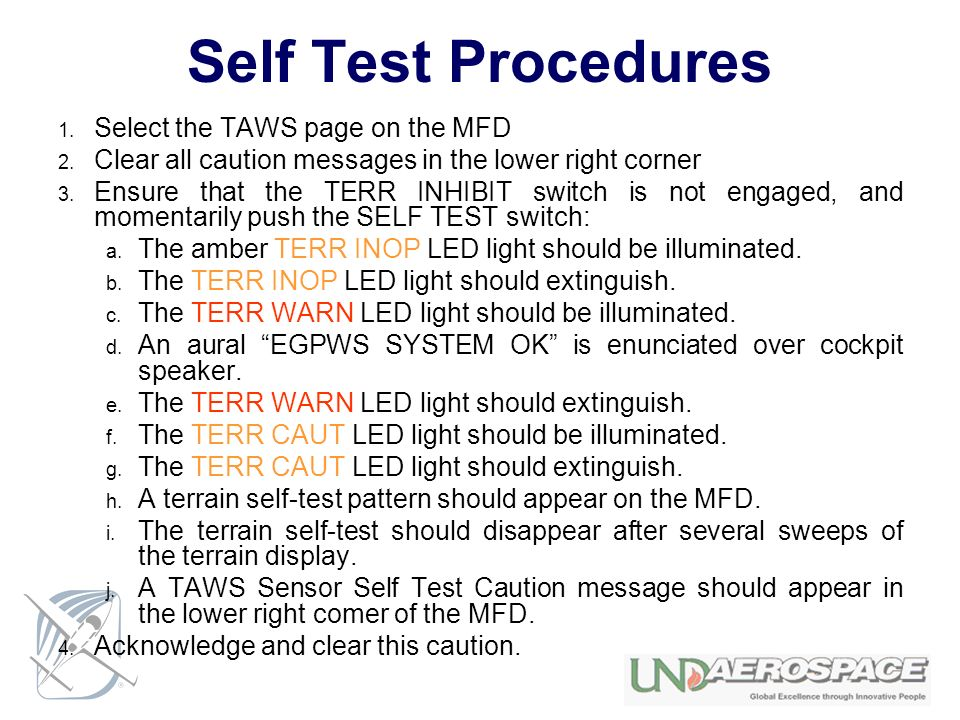 Self Test Procedures Select the TAWS page on the MFD