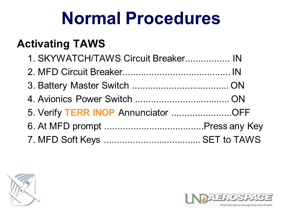 Normal Procedures Activating TAWS