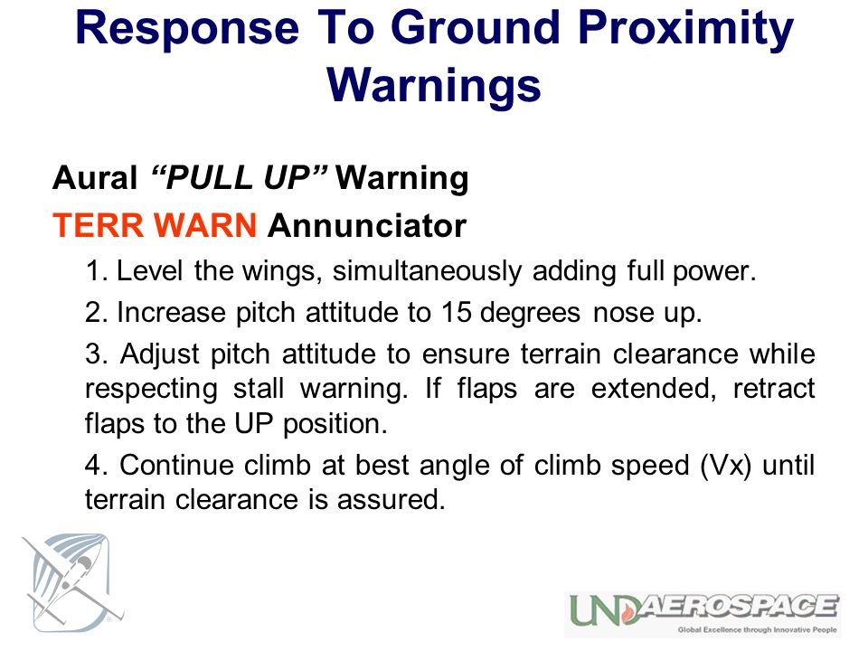Response To Ground Proximity Warnings