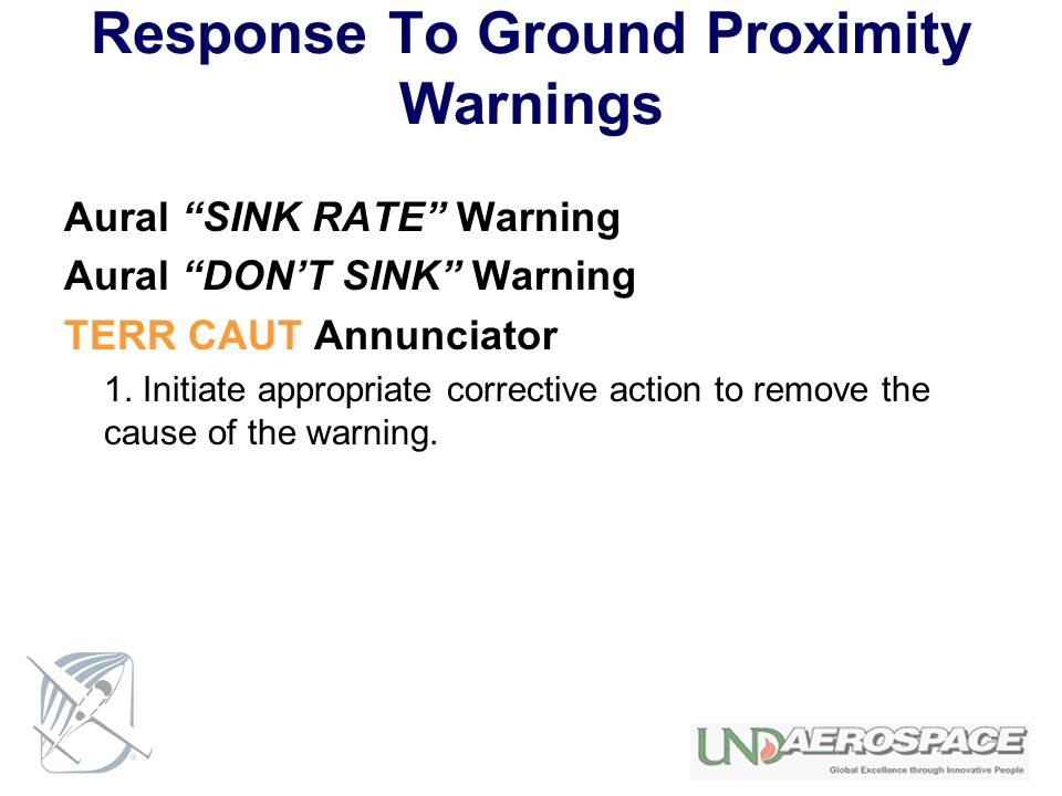 Response To Ground Proximity Warnings