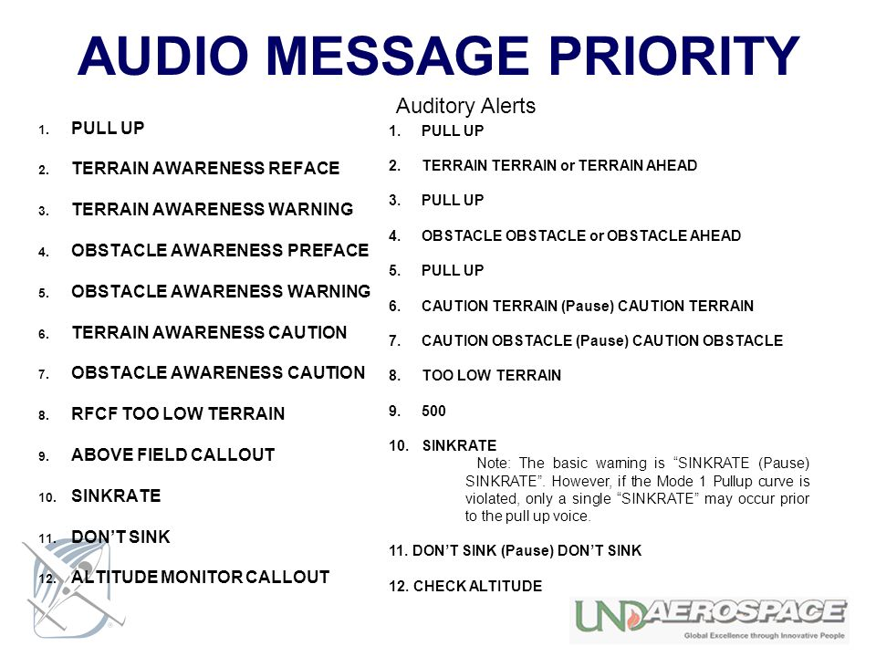 AUDIO MESSAGE PRIORITY