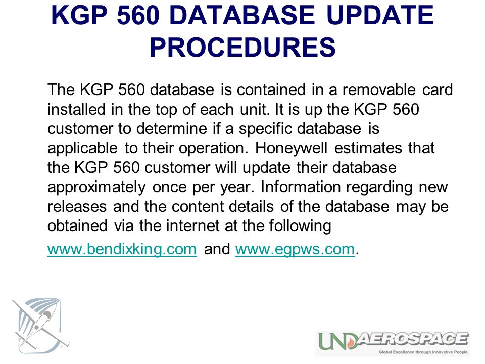 KGP 560 DATABASE UPDATE PROCEDURES