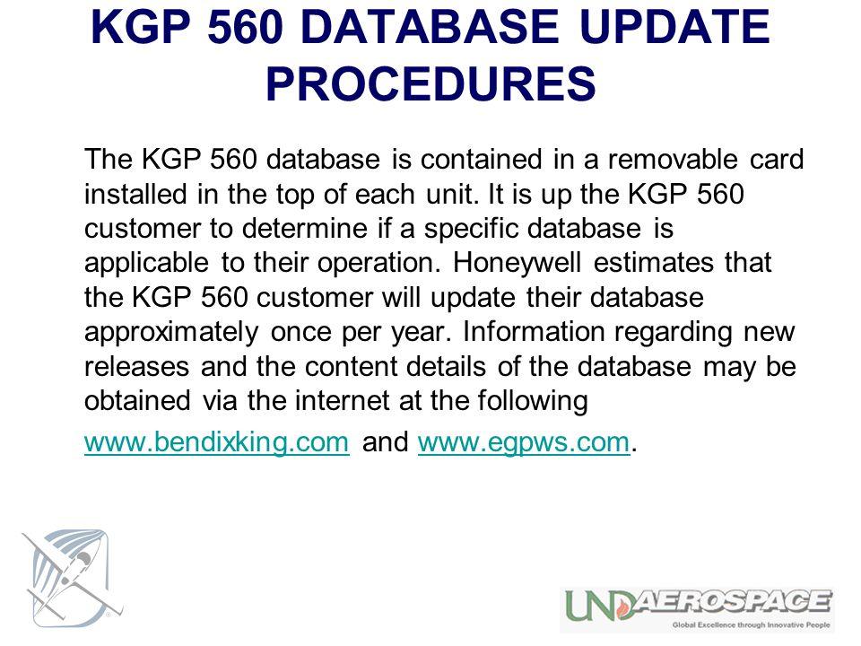KGP 560 DATABASE UPDATE PROCEDURES