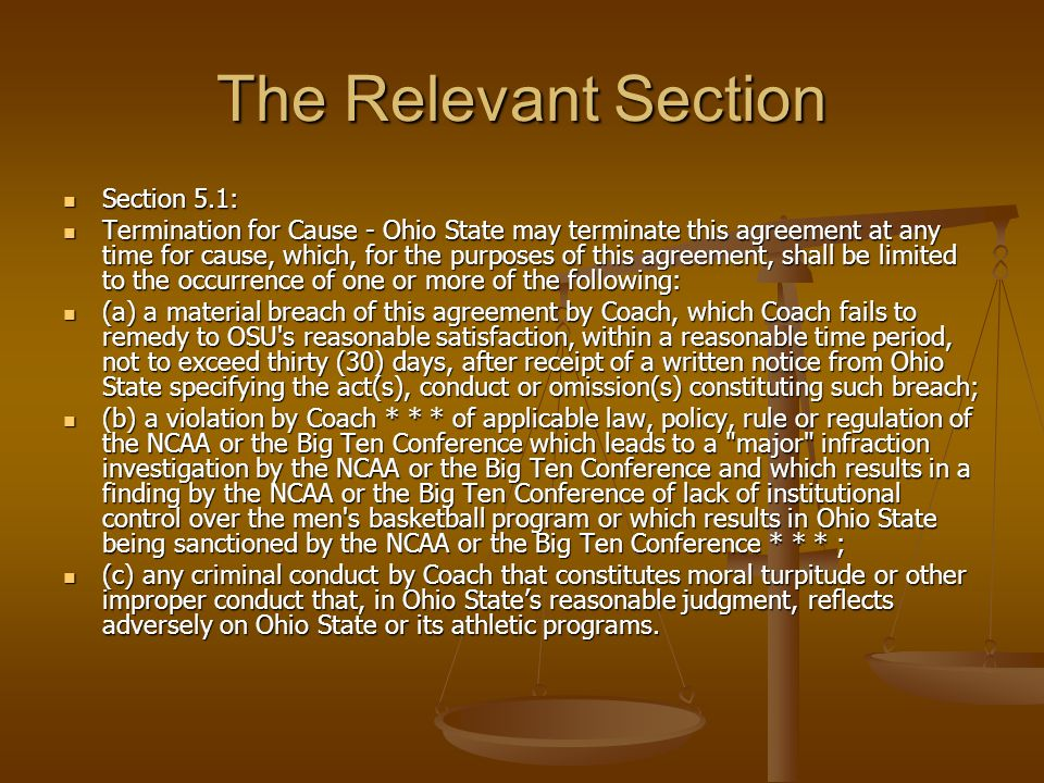 The Relevant Section Section 5.1:
