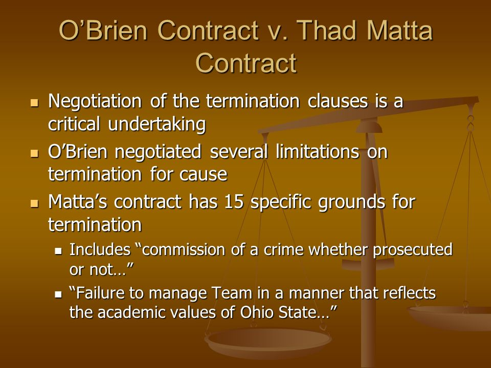 O'Brien Contract v. Thad Matta Contract