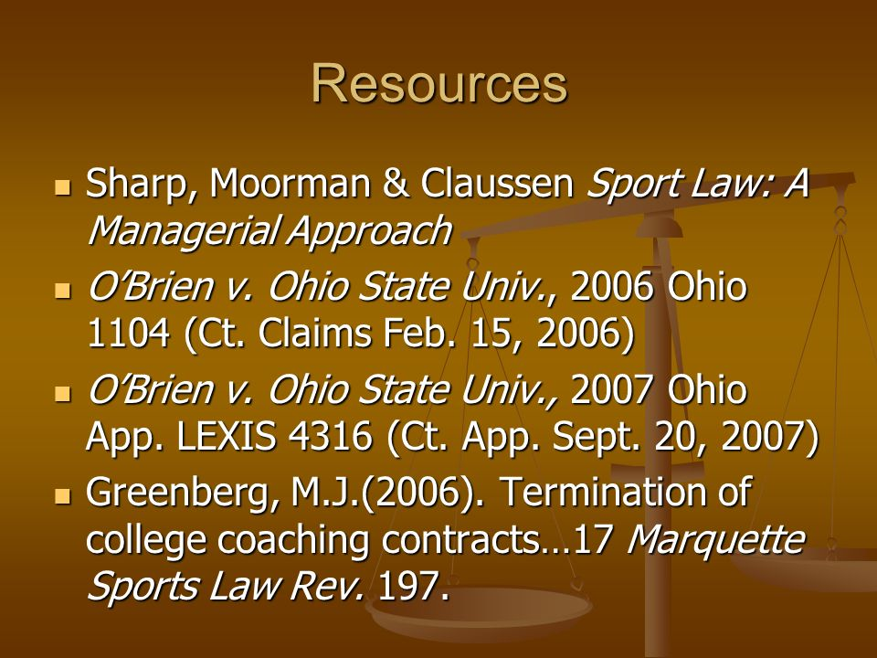 Resources Sharp, Moorman & Claussen Sport Law: A Managerial Approach