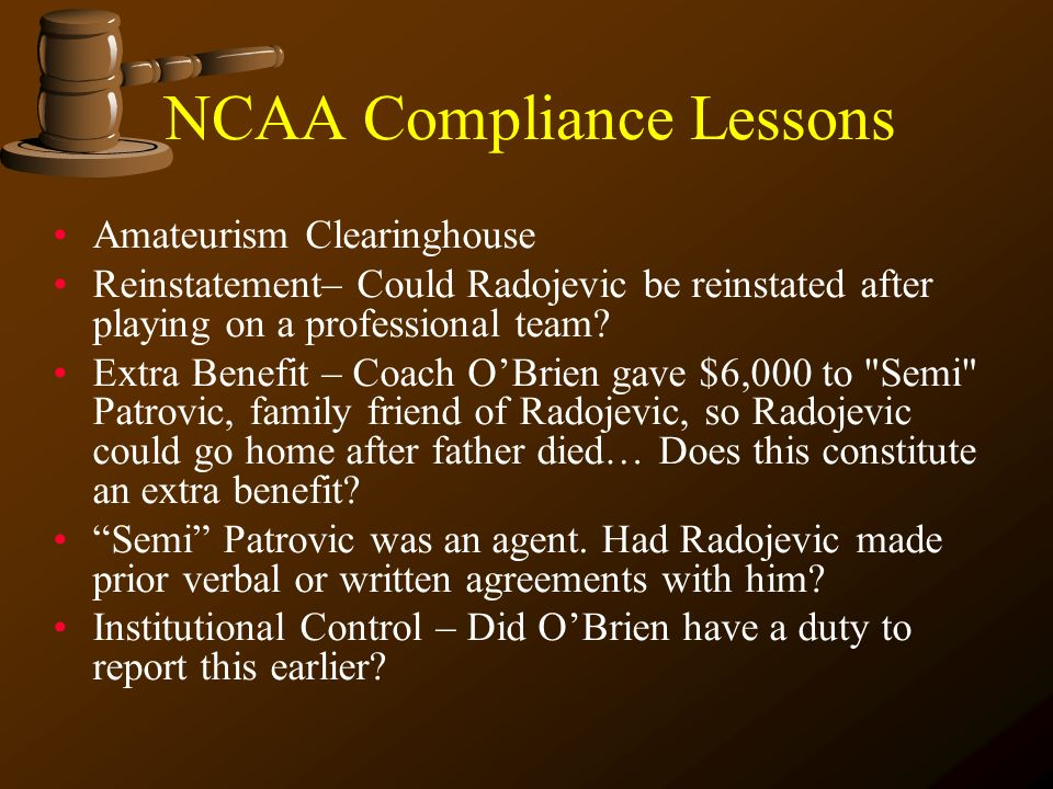NCAA Compliance Lessons