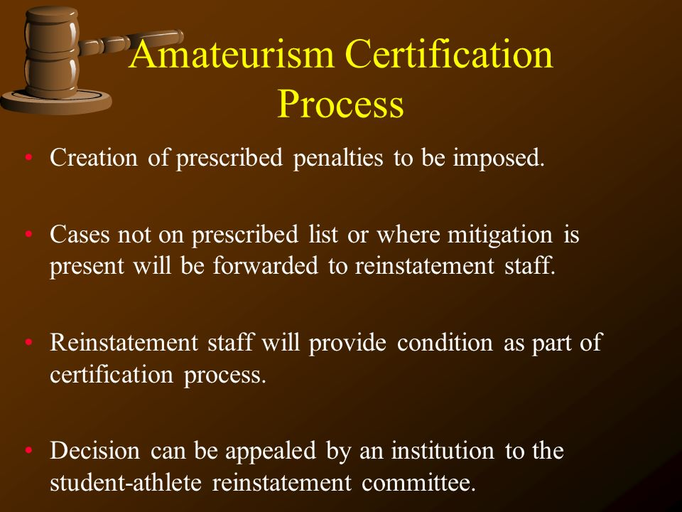 Amateurism Certification Process