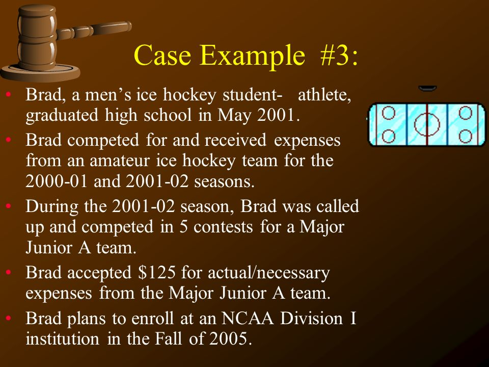 Case Example #3: Brad, a men's ice hockey student- athlete, graduated high school in May 2001.
