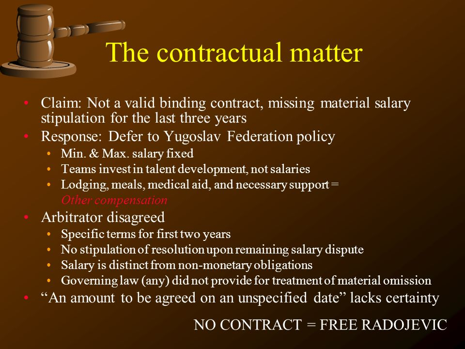 The contractual matter