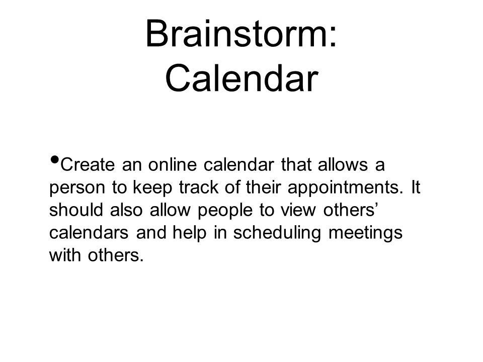 Brainstorm: Calendar