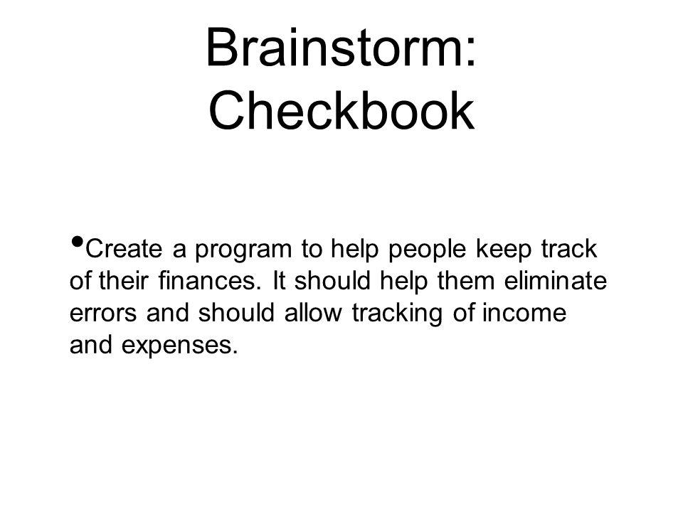 Brainstorm: Checkbook