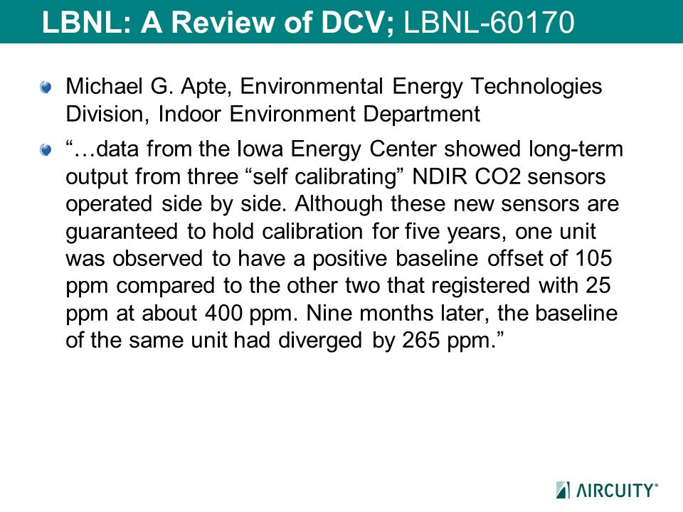 LBNL: A Review of DCV; LBNL-60170