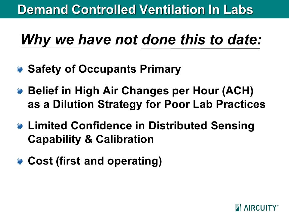 Demand Controlled Ventilation In Labs