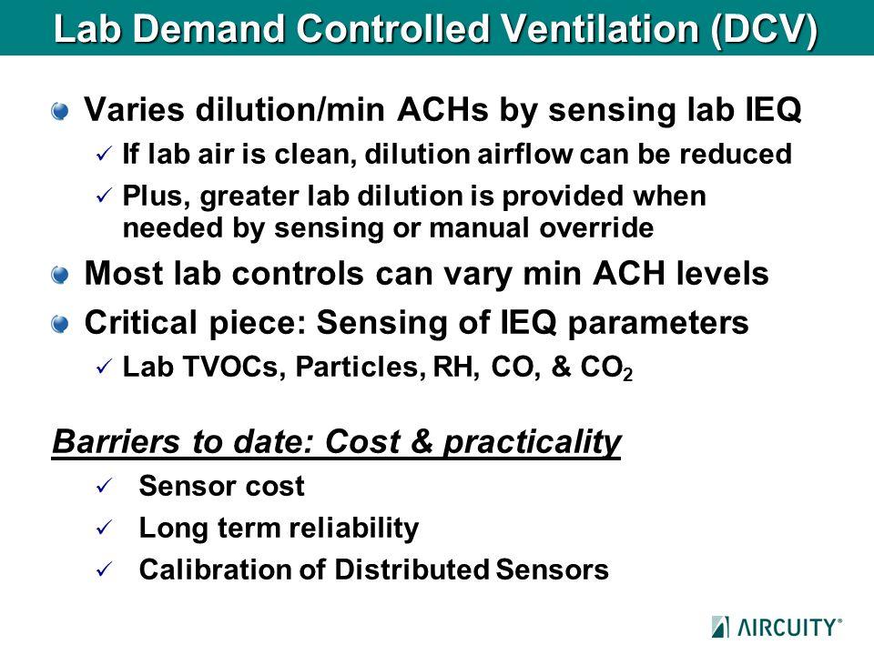 Lab Demand Controlled Ventilation (DCV)