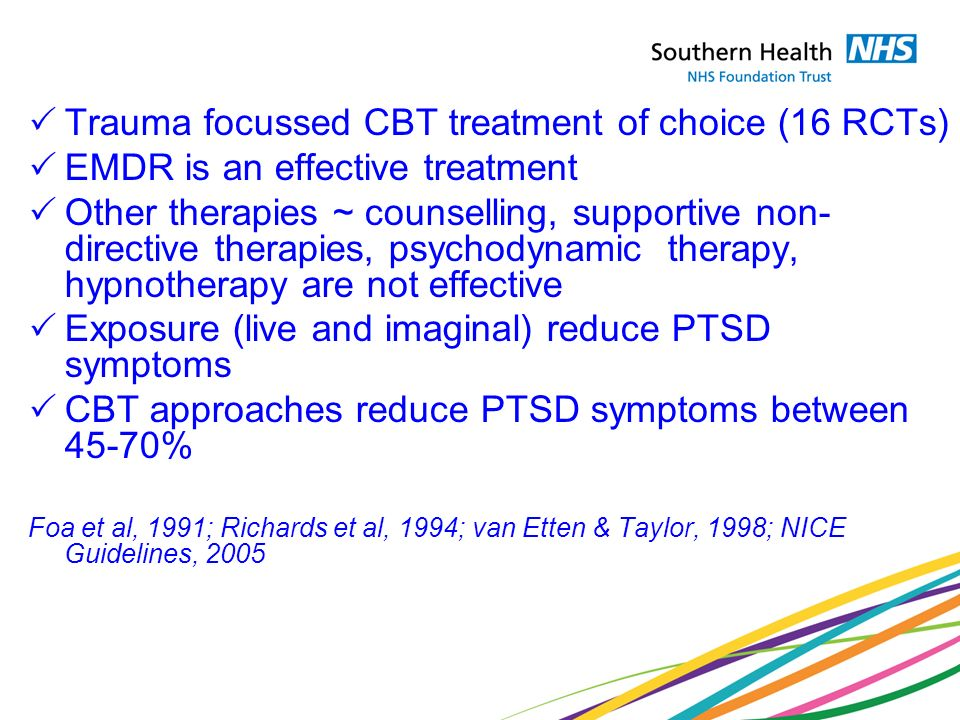 Trauma focussed CBT treatment of choice (16 RCTs)
