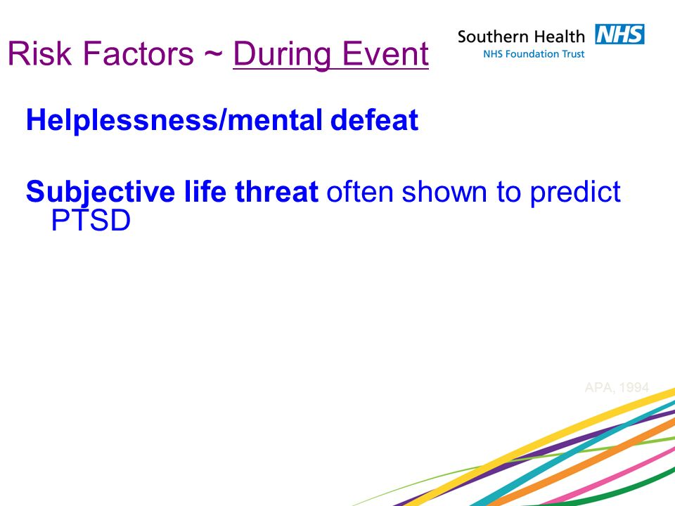 Risk Factors ~ During Event