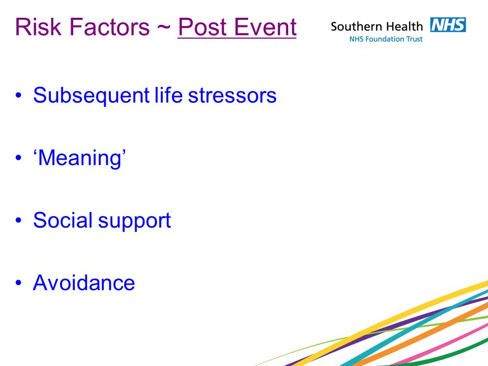 Risk Factors ~ Post Event