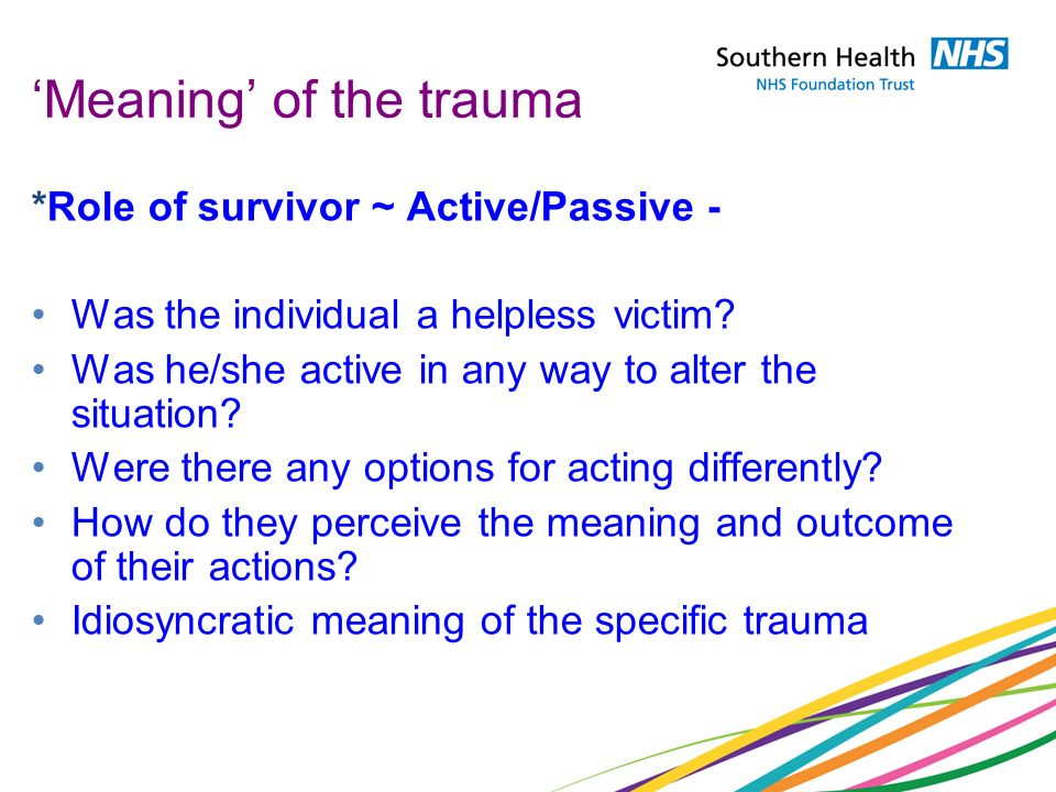 'Meaning' of the trauma