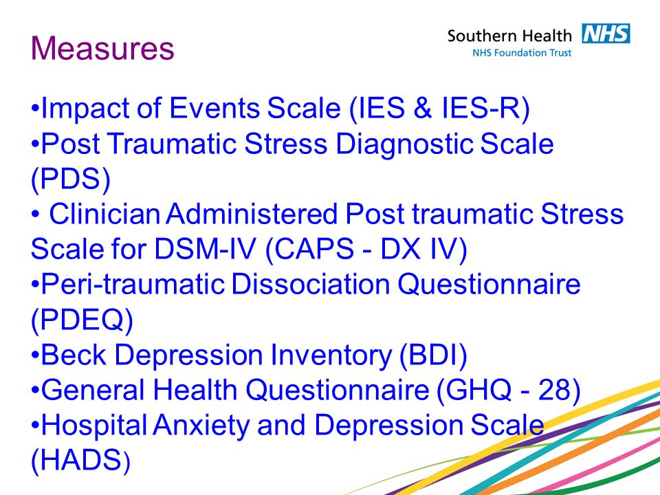 Measures Impact of Events Scale (IES & IES-R)