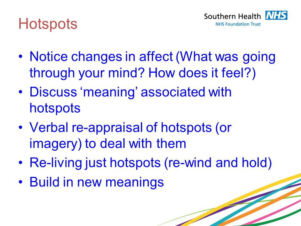 Hotspots Notice changes in affect (What was going through your mind How does it feel ) Discuss 'meaning' associated with hotspots.