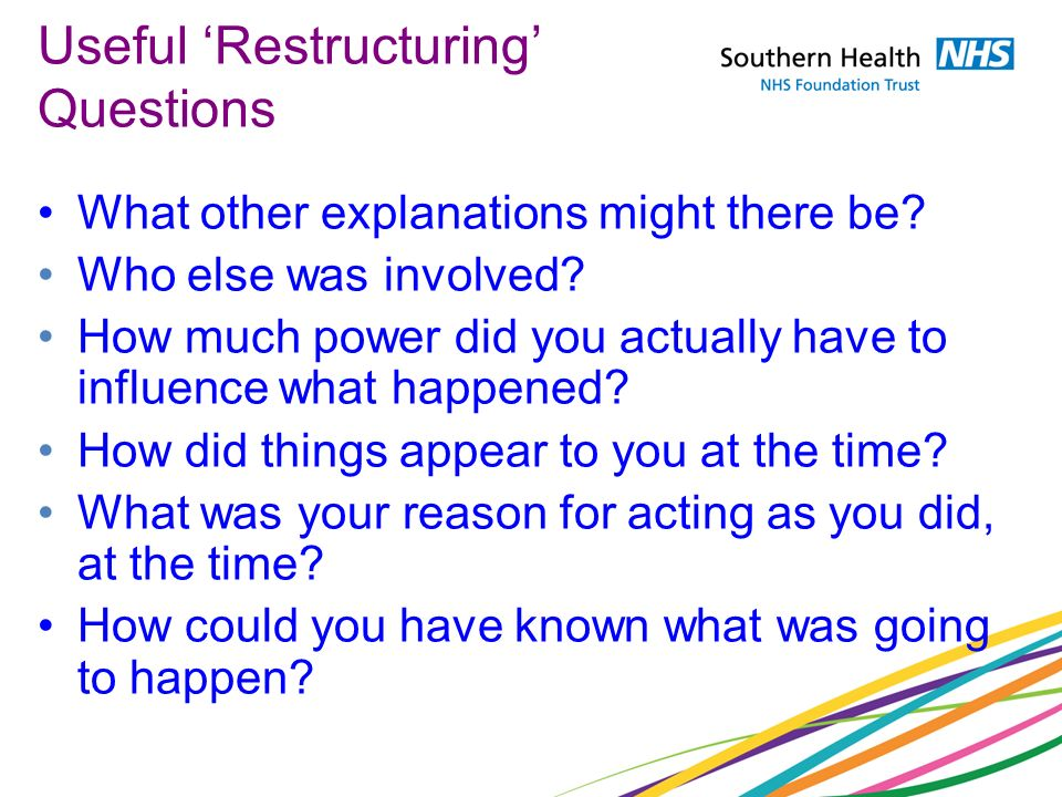 Useful 'Restructuring' Questions