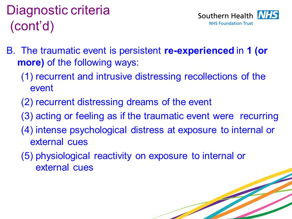 Diagnostic criteria (cont'd)