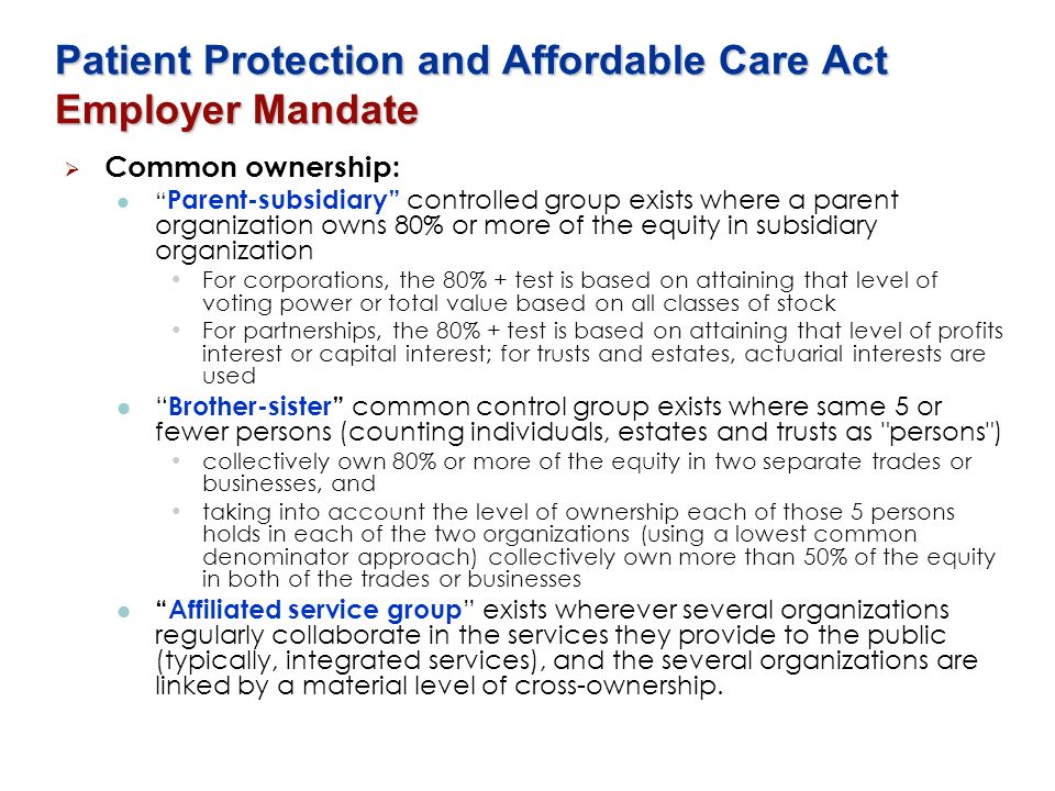 Patient Protection and Affordable Care Act Employer Mandate