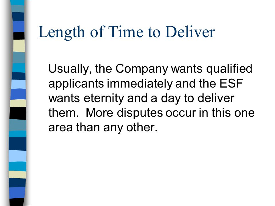 Length of Time to Deliver