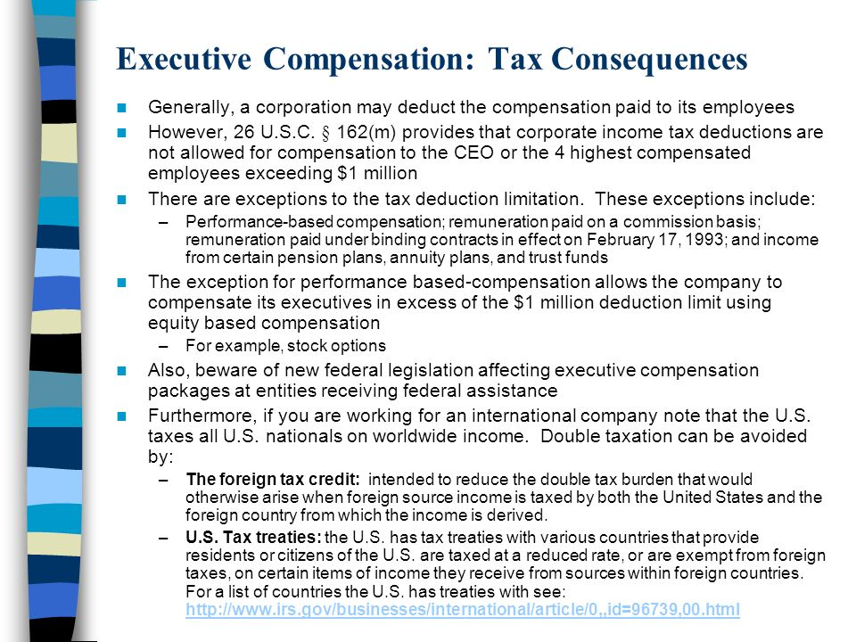 Executive Compensation: Tax Consequences