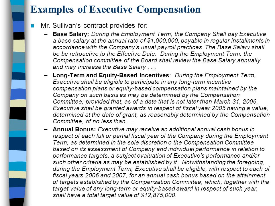 Examples of Executive Compensation