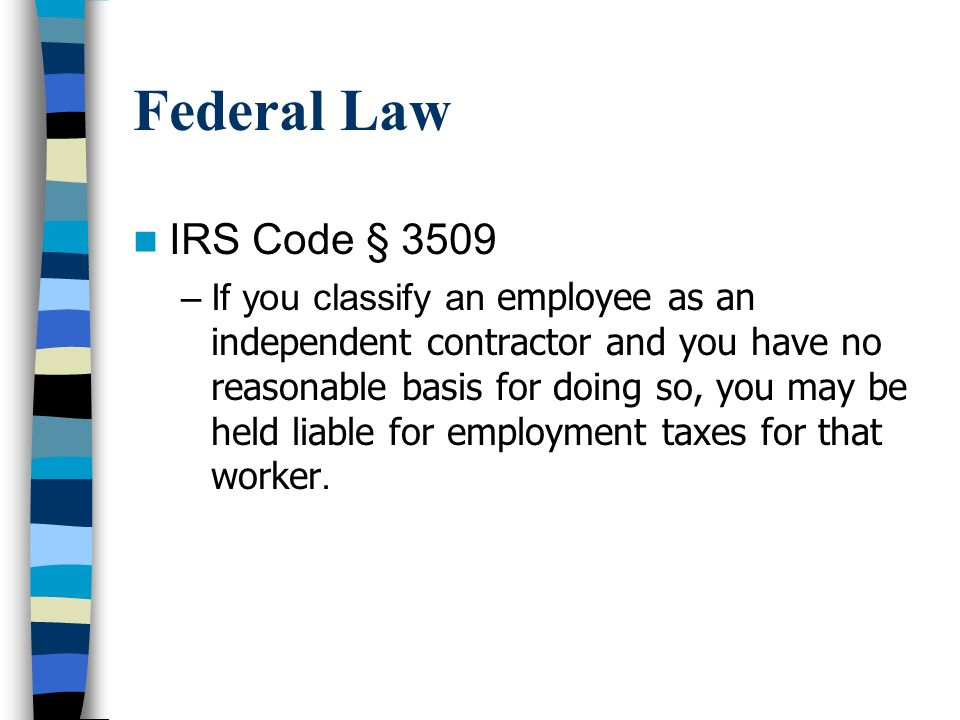 Federal Law IRS Code § 3509.